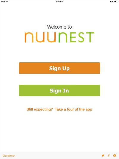 NuuNest log-in page