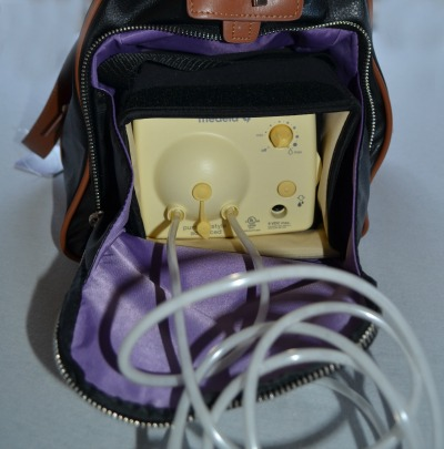 Maddy breast pump bag in use