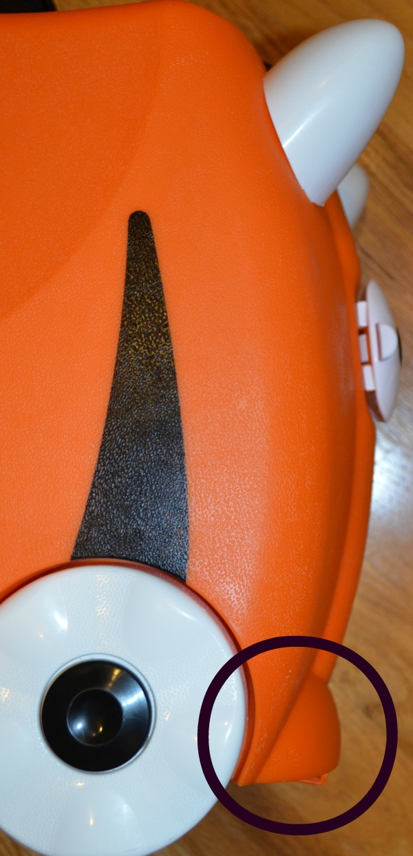 Trunki's stabilizers at the front and at the back