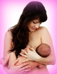 Breastfeeding positions: cradle position with maximum skin contact